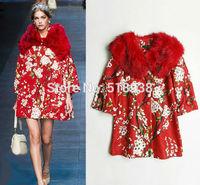 2014 new autumn winter women fashion cherry floral patterns print outerwear coat fox fur collar beading jacquard a line coats