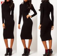 Dress 2014 Sexy New Black Slim Long-Sleeved High-Necked Sexy Women Long Dress Bottoming Winter Dress Big Yards Free Shipping