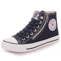 2014 The new high-top canvas shoes women solid color solid color big yards recreational SHOES free shipping