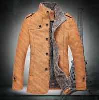 Free Shipping Winter Jacket Men Jackets Man Stand Collar Medium length Thicken Lining Solid Zipper Slim Outerwear Plus size 4XL