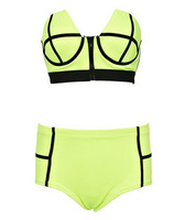 2014 cheaper lady's strapless zipper high waisted bikinis  free shipping