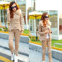 Two-Piece Suit Women Eiderdown Cotton Jacket Winter Woman Pants Cotton Trousers Women Pants Women Winter Warm Fur Collar Jackets