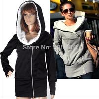 Hot Recommended Korean Women's Hoodies Winter Warm Coat  Oblique Zipper Hooded Women's Thickening Sweatshirts M-5XL