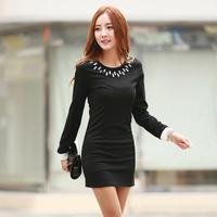 mini sexy plus size club dresses fashion women long sleeve black dress Was thin gem o-neck elegant dresses