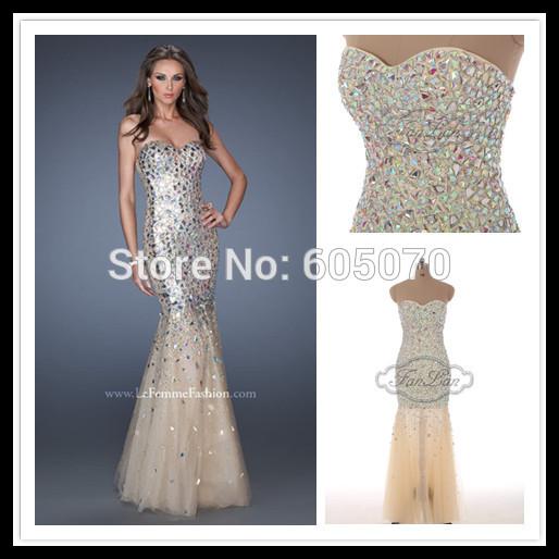 novo chegou 882014 elegante vestido sem alças prom vestido de festa com total cristais 100% vestidos99 foto real(China (Mainland))