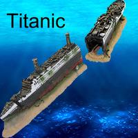 Fish tank aquarium decoration bottom of the sea Titanic wreckage environmental protection resin material Christmas Hot Sell