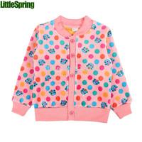 LittleSpring Retail 1 pcs Children's long sleeve cardigan dot bear printing Child kids velvet coat  fashion children outerwear