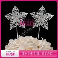 clear rhinestone flower cake topper for wedding cake decor,free shipping,gem crystal flower rhinestone cake topper