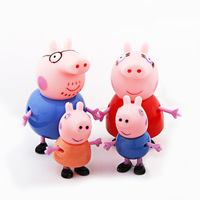 Hot Sale Peppa Pig Toys Dolls Daddy Mummy Pig George Pepa Pig Family Set 4pcs/lot with Retail Box, Kids gifts