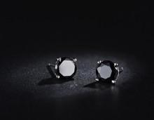 T1073 Fashion men Jewelry Platinum Plated Black Women Men Stud Earring wholesale