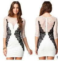European and American big new round neck lace dress M-XXL