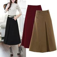 Vintage Women Woolen Long Skirt New Fashion 2014 Autumn Winter Casual A-Line Ankle-length Skirt Thicken Women's Skirt 1410902
