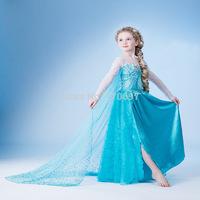 New Hot Frozen Queen Elsa Princess Children Girls Party Cosplay One-piece Dress Skirt Costume Clothes Five sizes