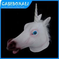 10Pcs/Lot Hot Sale Creepy Unicorn Head Mask Fancy Dress Party Cosplay Halloween Costume Theater Prop Novelty Vinyl Unicorn Mask