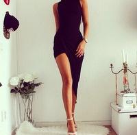 women fashion big range of European style black sexy women's long dress nightclub explosion models irregular long dresses