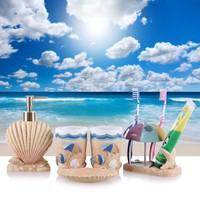 5pcs Creative Romantic Cute Ocean Shell Bathroom Accessories Set banheiro Free Shipping