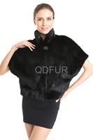 2014 Winter Fashion Women's Luxury Genuine Mink Fur Coat Jacket  Female Fur Outerwear Garment Short Sleeve Vest QD70824