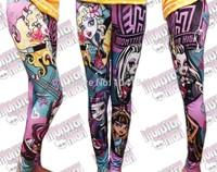 Wholesale New 2014 Baby Girl Cartoon Monster.high Monster high Print Pencil Pants Children Clothes Leggings Kids Clothing Capris