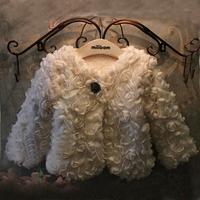2014 Winter new Korean version of Western style high-end stereo rose platter short thick fur coat for girls