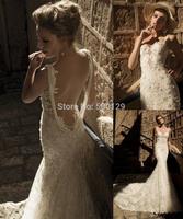 Wonderful Spaghetti Applique Pearl Beading Long Train Backless Vintage Lace Mermaid Wedding Dresses 2014