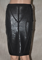 2014 high quality new arrival black metallic leatherette knee length Bandage skirts ladies' party evening skirt