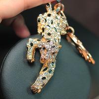 Retail and Wholesale Fashion Cute Jaguar Leopard Crystal Key Chain Pendant Purse Charm Keychain K32 Free Shipping Worldwide