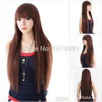 3 colors Fashion Black Nature Long Straight Wigs Flat Bangs Wigs