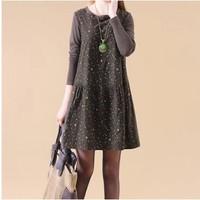 free shipping ! girl's long sleeve casual 80% cotton dress women's fall oversize clothing XXL female vintage print mini dress