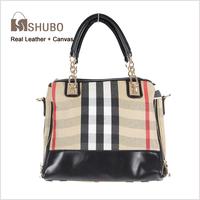 SHUBO Brand Bags 2014 Hot Women Casual Plaid Bag Canvas + Real Leather Handbags Chains Tote Shoulder Bags Cowhide Handbag SH079