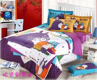 3pcs/lot 3D Totoro purple Kids cartoon bedding comforter set children queen size bedspread sheet duvet cover quilt linen home