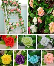 New 2014 Artificial Fake Silk Rose Flower Vine Hanging Garland Wedding Home Decor(China (Mainland))