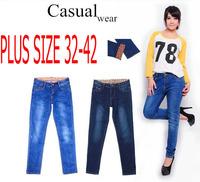 2014 Autumn winter plus size women jeans skinny cuffs big size pencil pants cotton slim denim trousers free shipping!