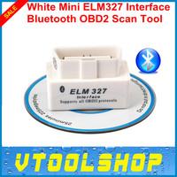 Super 2014 Top-Rated New White  Mini ELM327 Interface  OBD2 II Bluetooth Car Auto Diagnostic Scanner Tool Mini ELM 327 in stock