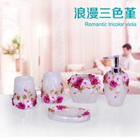 5pcs Decorative Resin Flower Luxury Bath Accessories Sets banheiro Wedding Gifts