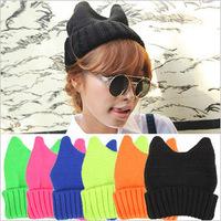 Fashion Soft Cute Women Girl Warm Winter Cat Ear Shape Knitted Hat Elastic Beanie Cap Christmas Gift