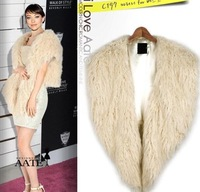 Korean version of women's fashion faux Tan wool vest imitation fur plush sleeveless irregular waistcoat