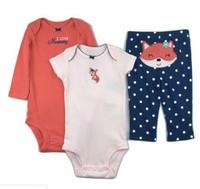 2014 free shipping 5sets/lot baby 3pcs clothing set  baby cotton long sleeve bodysuit  short sleeve bodysuit +pant