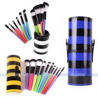 10pcs Makeup Brush Set Cosmetic Tool Kit  Colorful Strip PU Leather Holder Storage Case