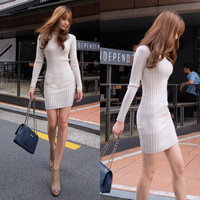 knitted dress 2015 Cotton Women casual dress long sleeve package hip Round neck Slim bottoming dress women's vestidos femininos
