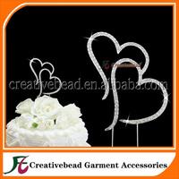 Free Shipping Double Heart Rhinestone Wedding Cake Topper, Dimante Wedding Cake Picks, Heart Cake Topper, Cake Jewelry