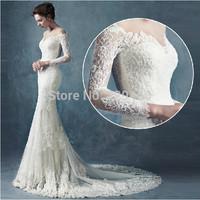 SS752 Custom Made Long Sleeve Deep Sweetheart Neckline Wedding Dresses 2015 Backless Bridal Dress