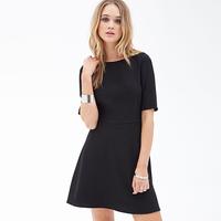 European Style Women New Fashion Black Dress Backless Back Knot Short Sleeve Slash Collar Slim Waist Mini A-Line Dress D589