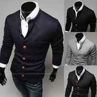 2014 New Arrive Hot simple Warm Winter Autumn cardigan sweater jacket Men Slim Collor regular Solid sweater Tops