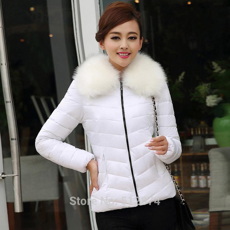 New Arrival 2014 Fashion Women's Coat Eiderdown Cotton Outerwear Long-Sleeved Lady Warm Fur Collars Jacket Eiderdown Cotton Coat(China (Mainland))