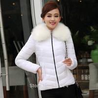 New Arrival 2014 Fashion Women's Coat Eiderdown Cotton Outerwear Long-Sleeved Lady Warm Fur Collars Jacket Eiderdown Cotton Coat