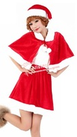 Free Shipping New Fashion Women New Year's Costumes Christmas Costumes Santa Skirt + Hat + Robe D-1815