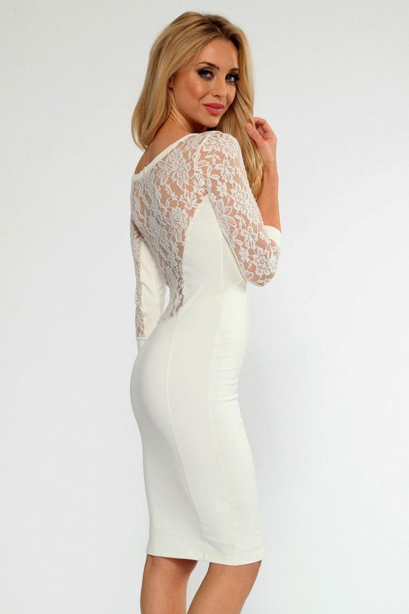 Cream Lace Dress Lace Insert Midi Dress