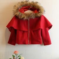 2014 new winter big virgin girls plus velvet thick woolen coat Korean woolen cape coat