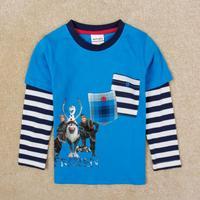 Kids T shirt for Boys Fall Nova Brand Frozen Stripes Long Sleeve Blue Cotton Children Clothes Pockets Decor Baby Tees Clothing