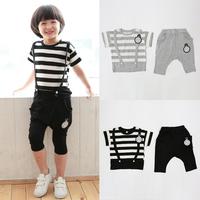 Kids Boys 2PCS Outfits Cotton Straps Striped Tops+ Harem Pants Set Costume